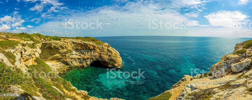 Best Beach Cala Marmols Mallorca Island Tropical Rocky Beach Panorama stock photo