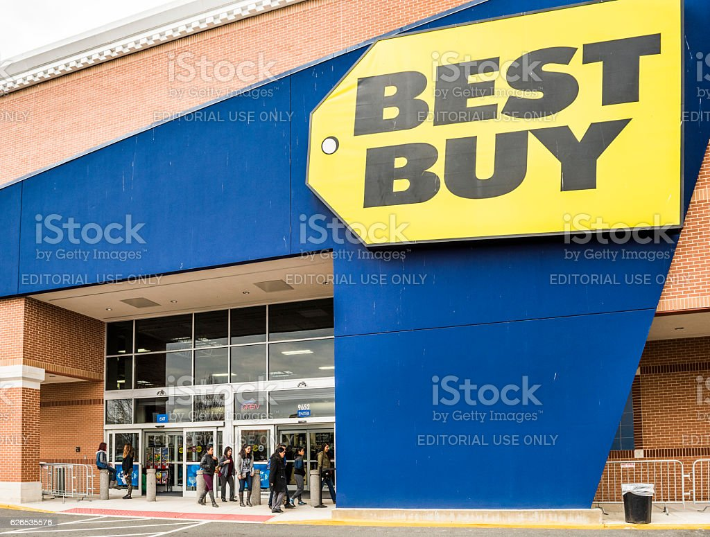 Best Buy store facade with huge sign stock photo