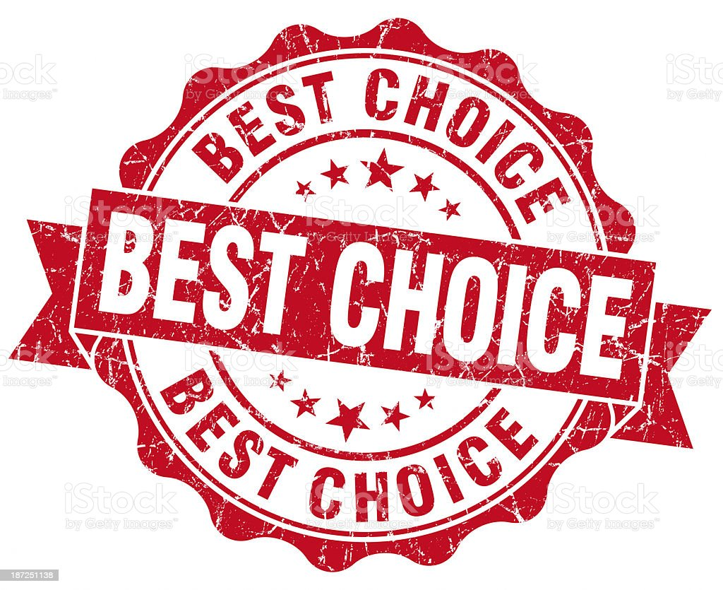 best choice red round seal stock photo
