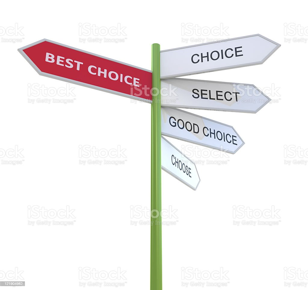 Best choice Way mark royalty-free stock photo