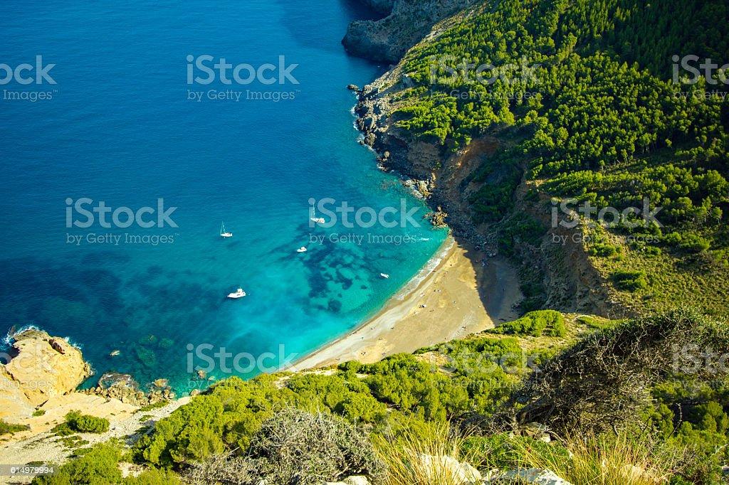 Best Coll Baix Mallorca Island Tropical Beach Panorama, Alcudia stock photo