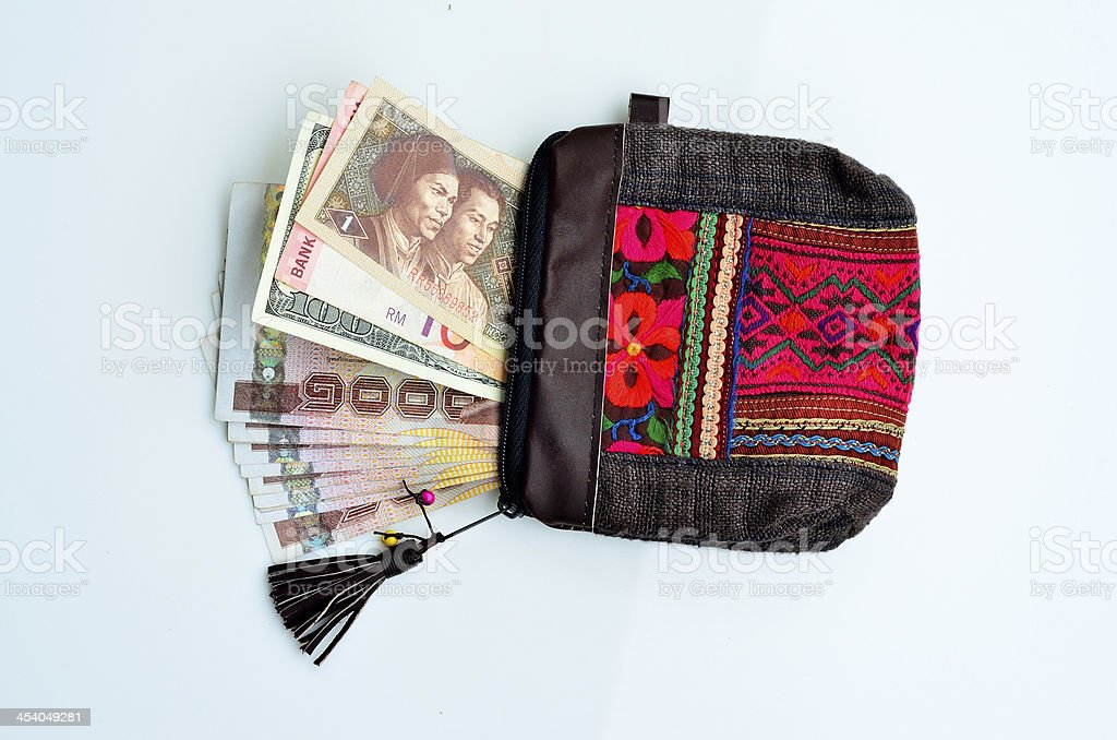 Best design of textile Handmade purse, wallet, with currency royalty-free stock photo