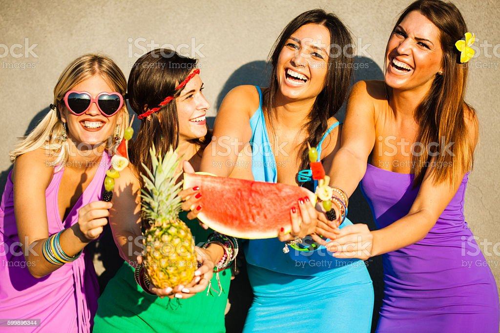Best friends at summer party stock photo