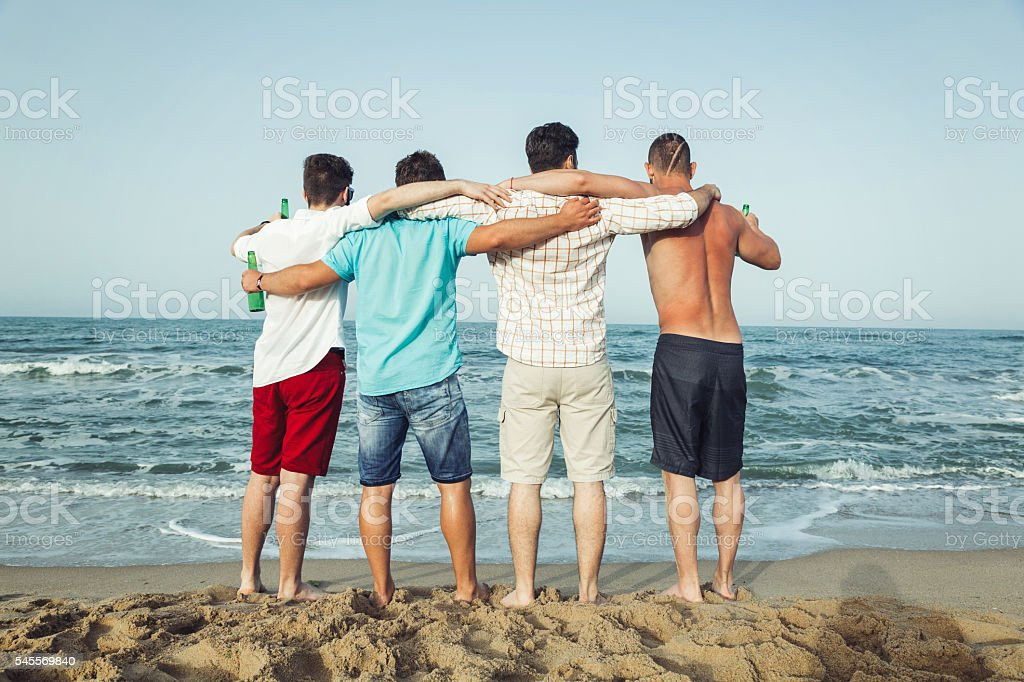 Best friends at the beach stock photo