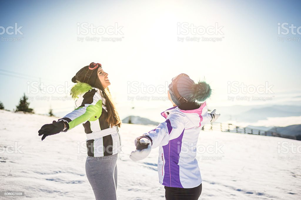 Best friends at the top of mountain stock photo