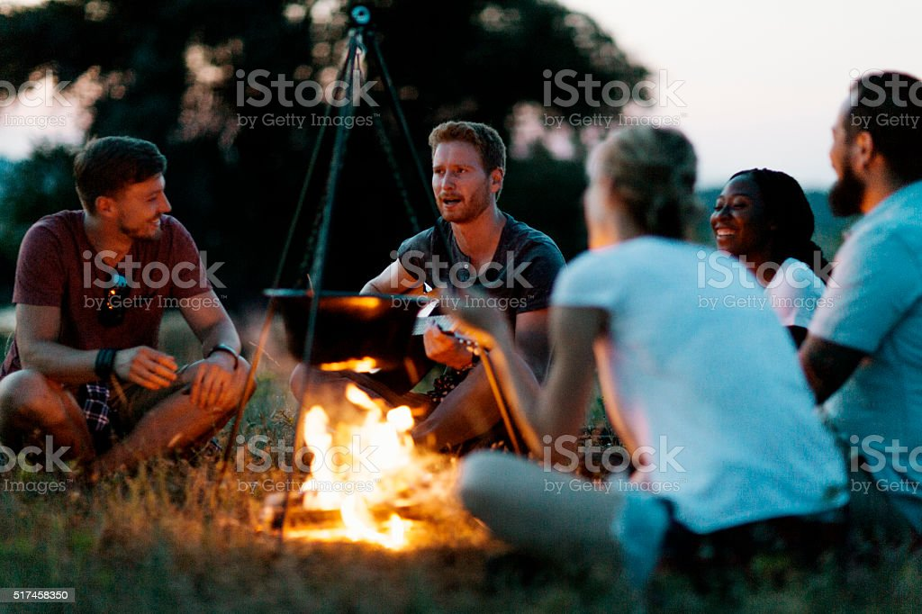 Best Friends camping together in nature stock photo