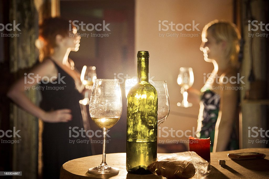 Best friends drinking on a Friday night stock photo