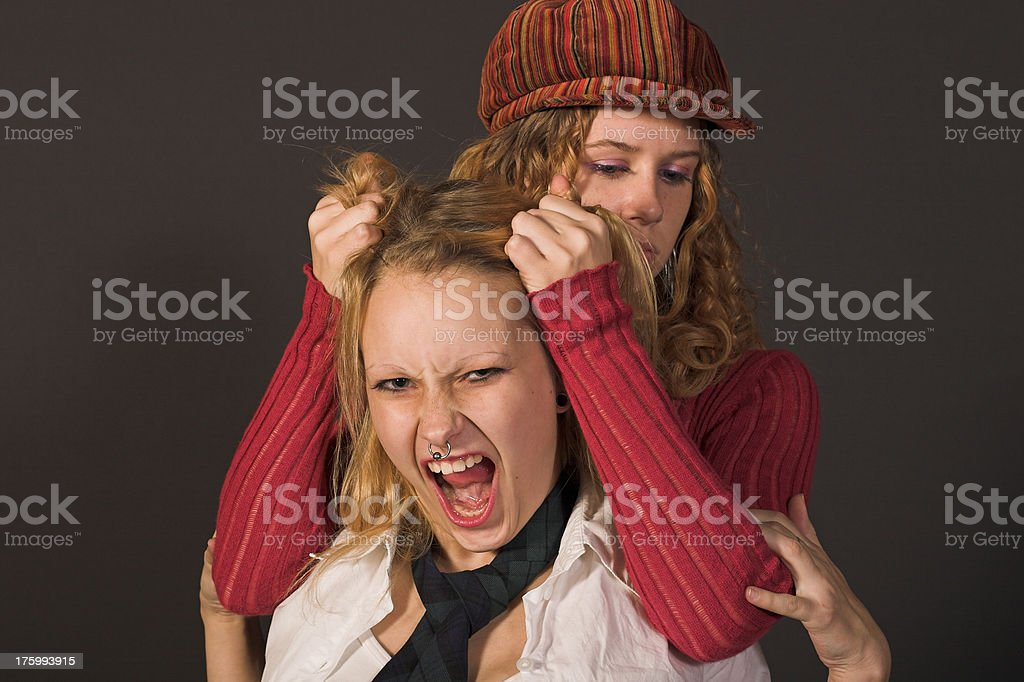 Best Friends fighting royalty-free stock photo
