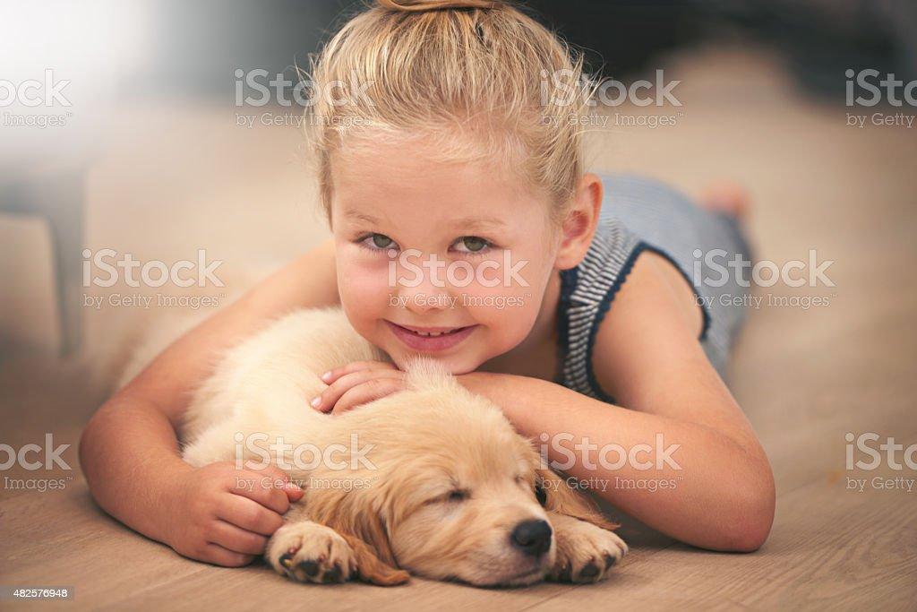 Best friends get the best cuddles stock photo