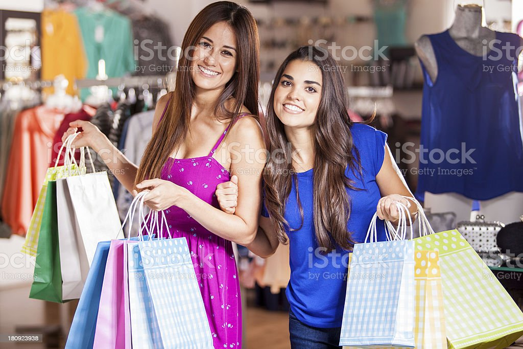 Best friends going shopping royalty-free stock photo