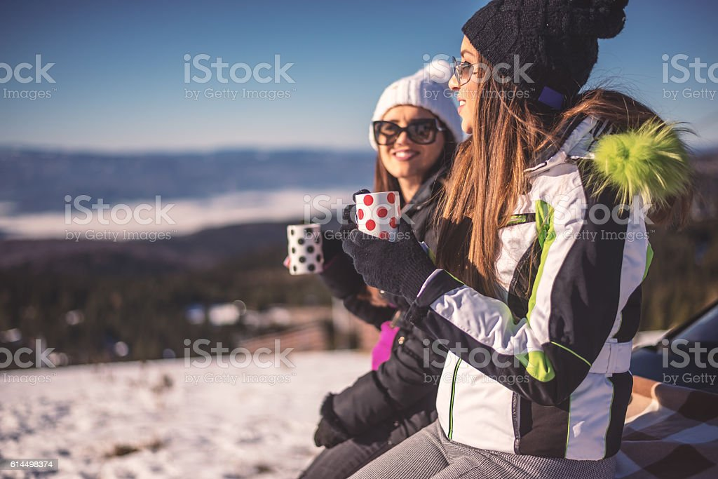 Best friends have time to hot tea stock photo