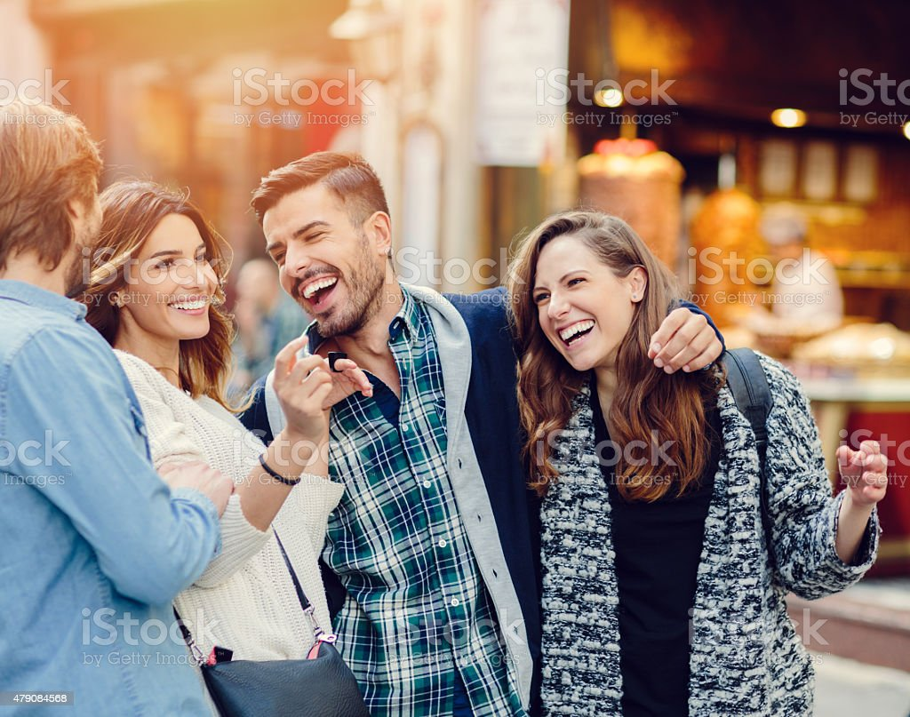 Best friends having fun in the city stock photo