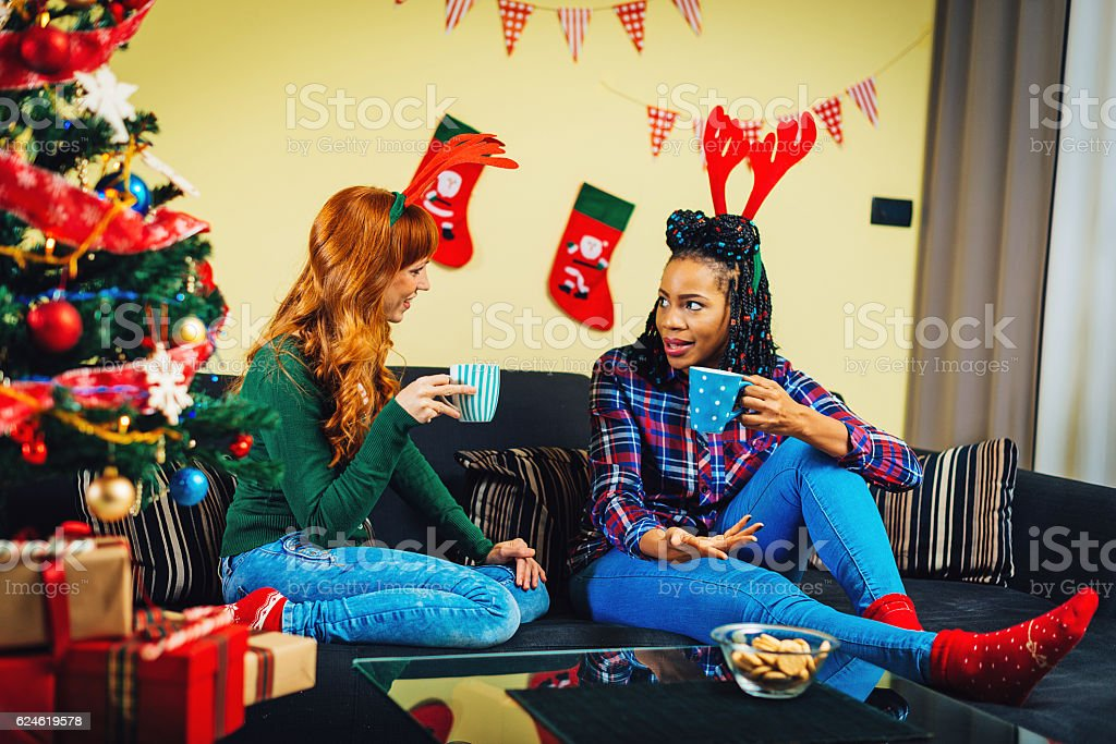 Best friends having nice time together for Christmas holiday stock photo