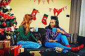 Best friends having nice time together for Christmas holiday