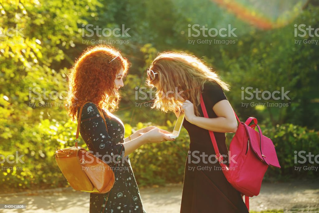 Best friends in city park using laptop. stock photo