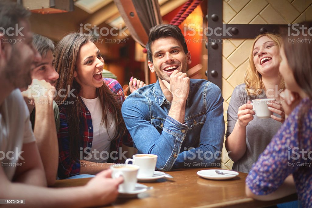 Best friends in the coffee shop stock photo