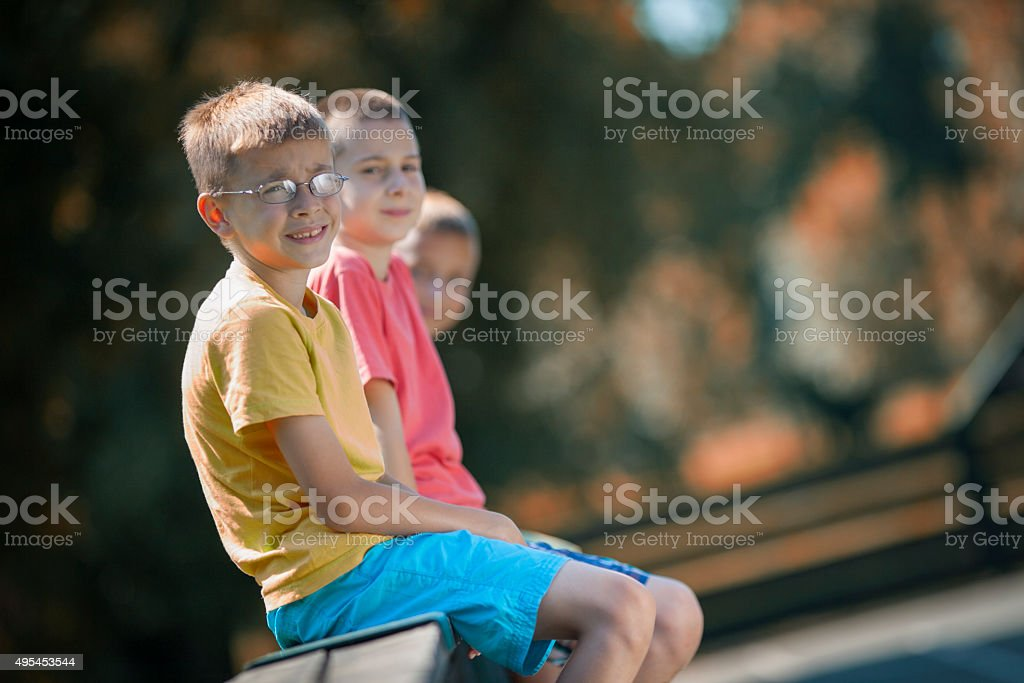 Best friends looking at camera stock photo