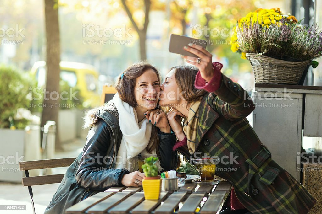 Best friends making selfie stock photo