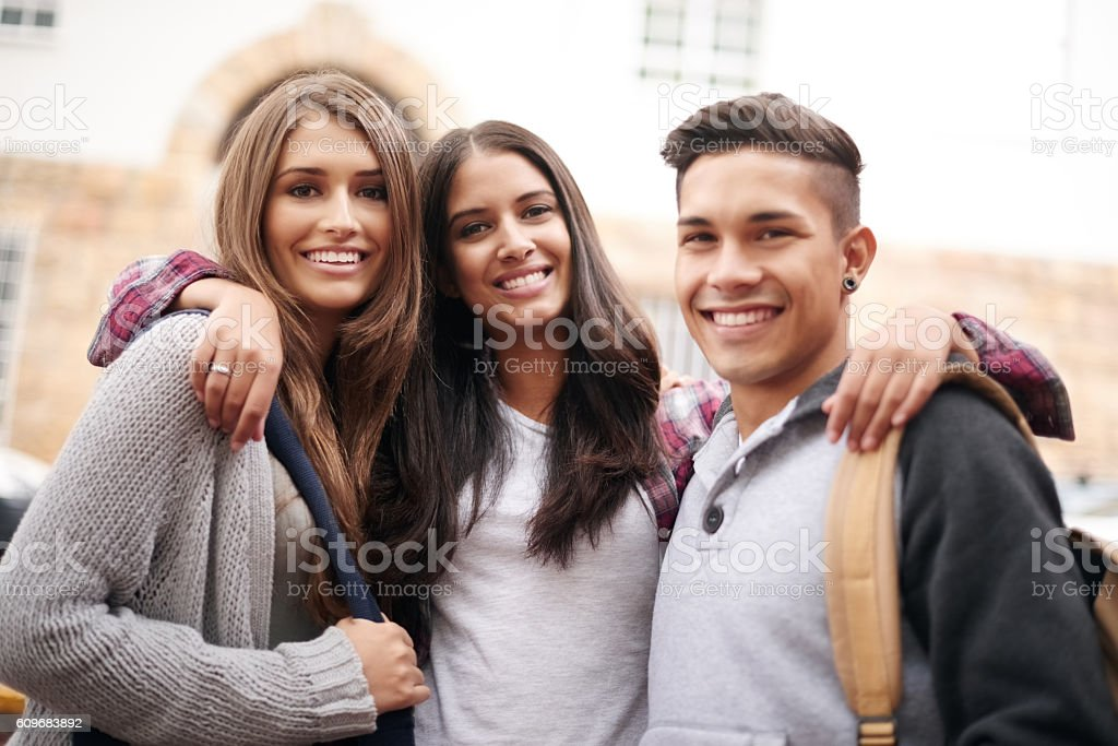 Best friends on and off campus stock photo