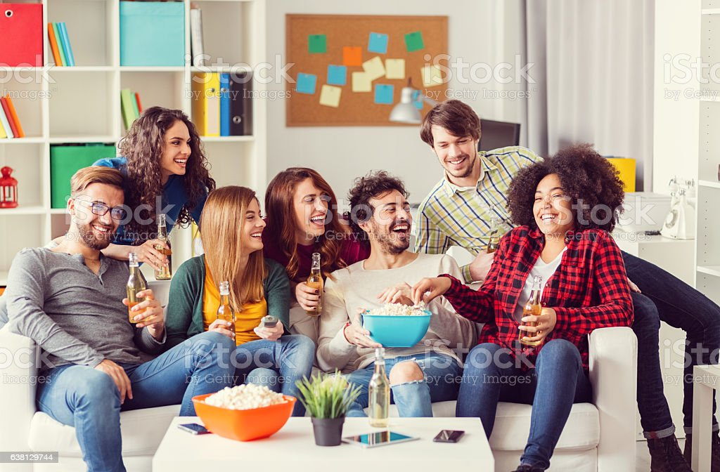 Best friends on birthday party stock photo