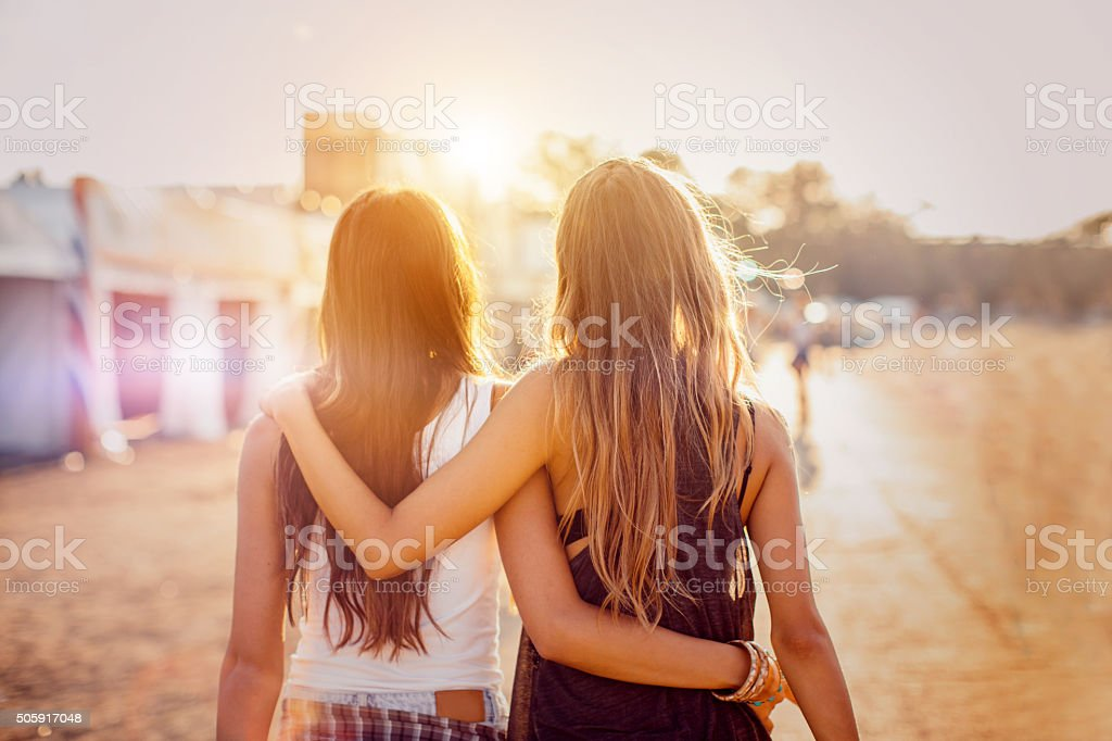 Best friends on the best summer festival stock photo