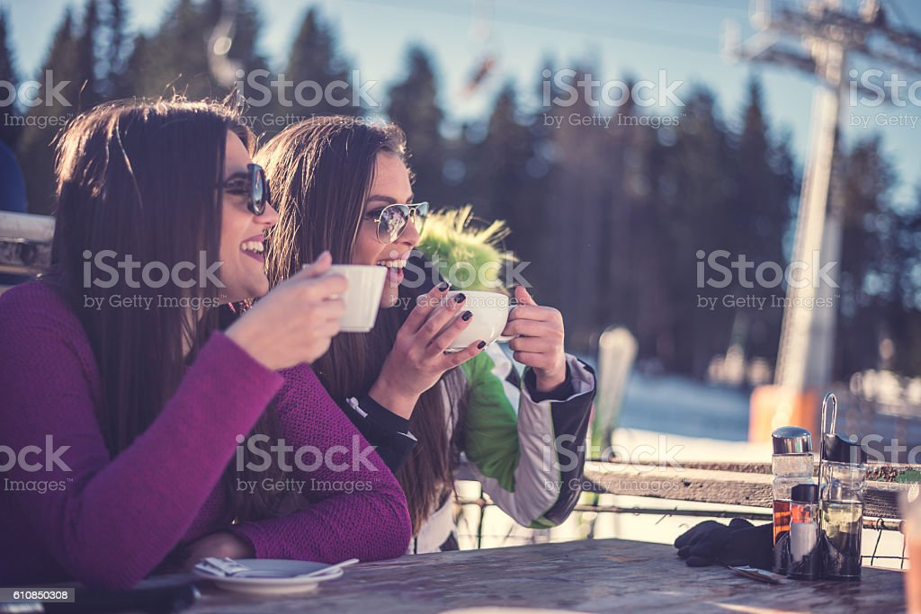Best friends on winter day stock photo