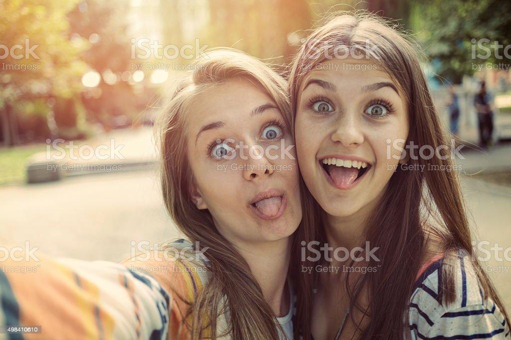 Best friends selfie stock photo