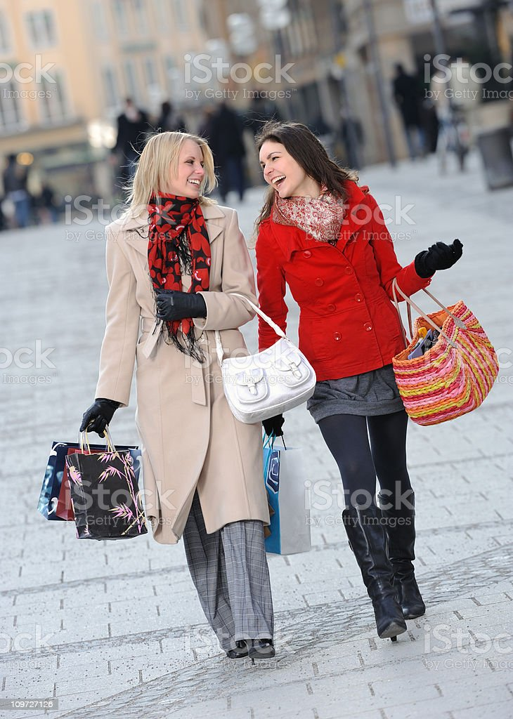 Best friends shopping - perfect candid smile royalty-free stock photo