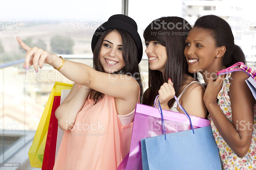 Best friends shopping. royalty-free stock photo