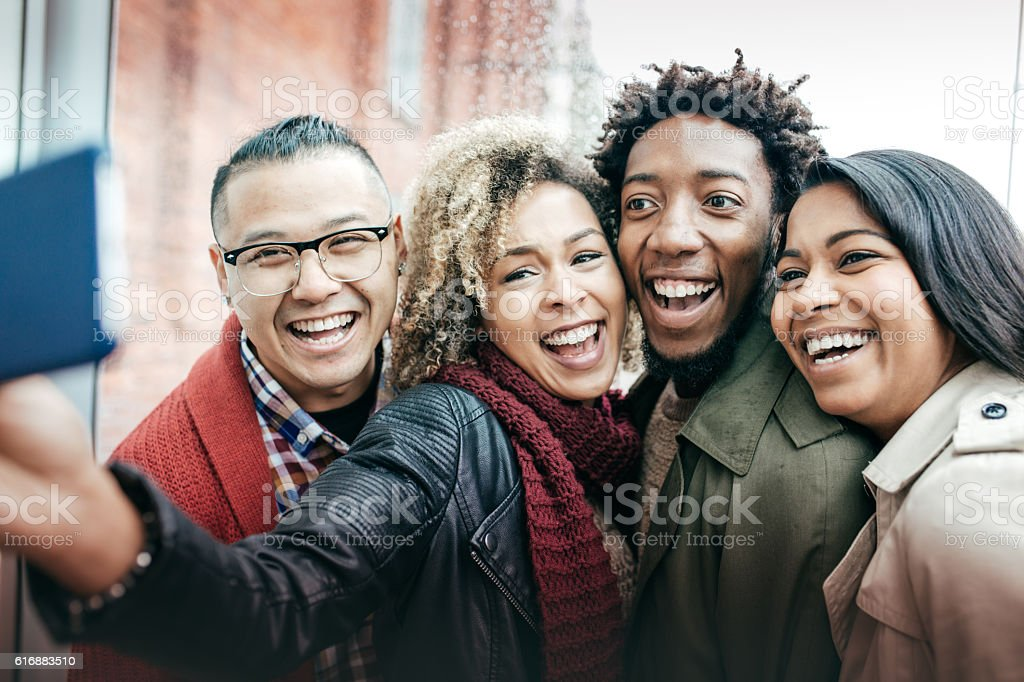 BEst friends taking selfie stock photo