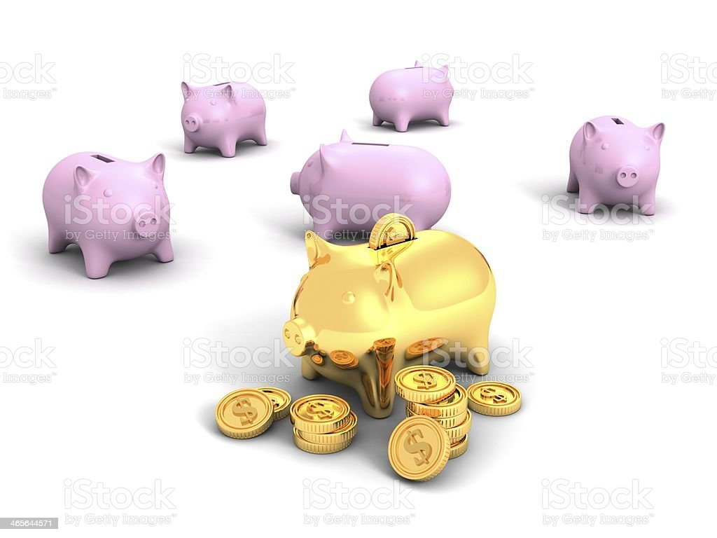 best golden piggy bank and money dollar coins royalty-free stock photo