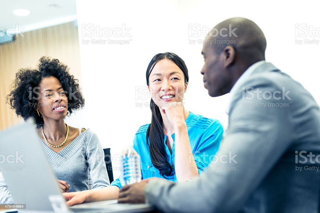 Best ideas come from brainstorming with the team stock photo