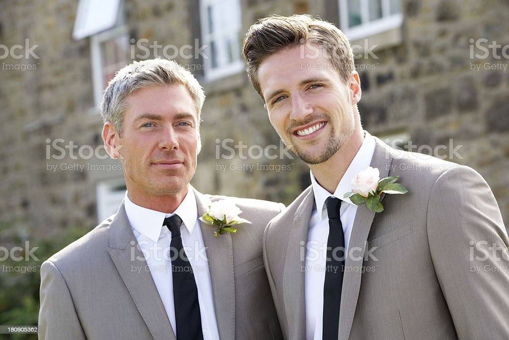 Best Man And Groom At Wedding stock photo