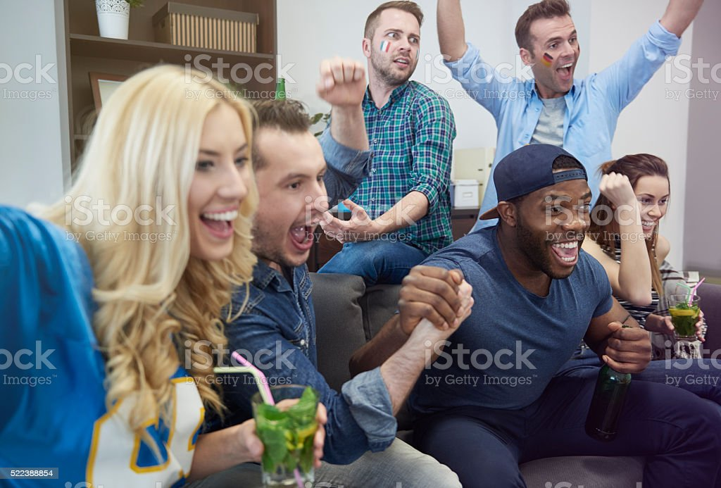 Best moment of watching championship stock photo