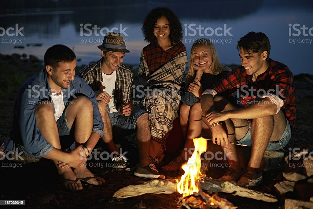 Best night in friendly circle stock photo