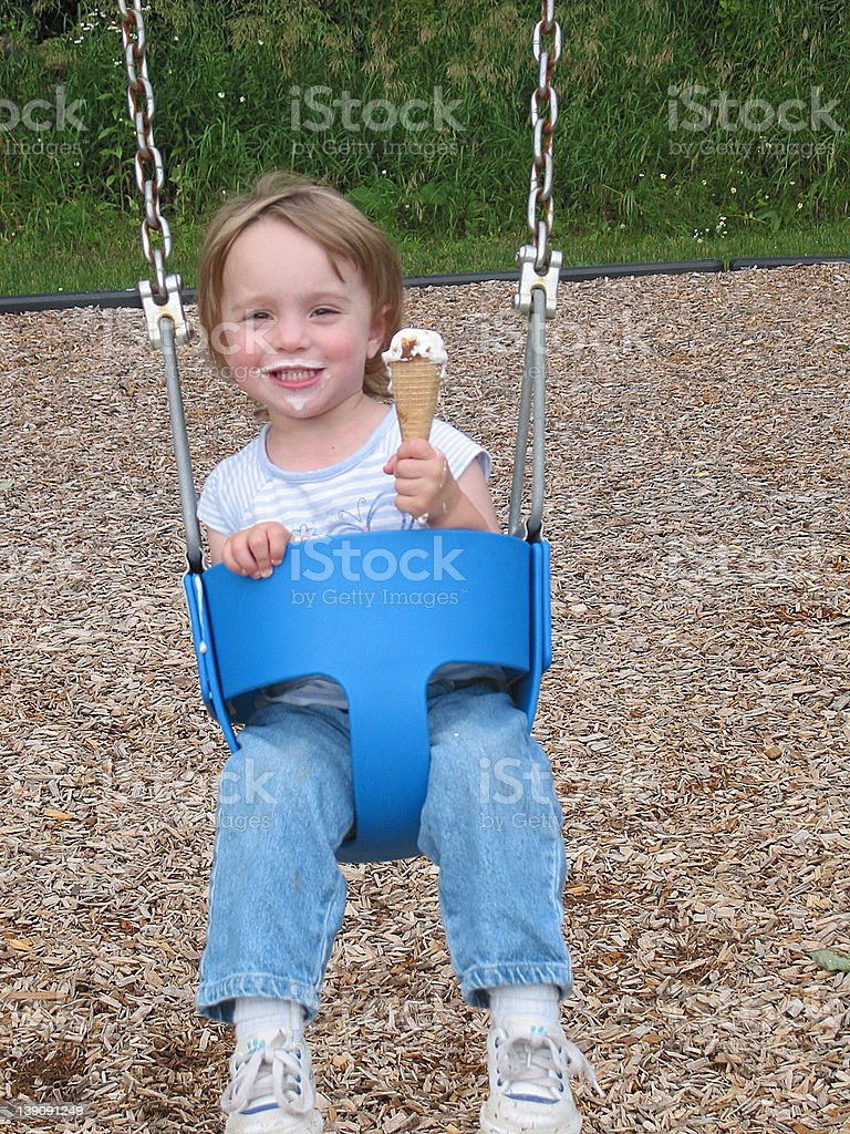 Best of Both Worlds-Ice Cream and Swings! stock photo