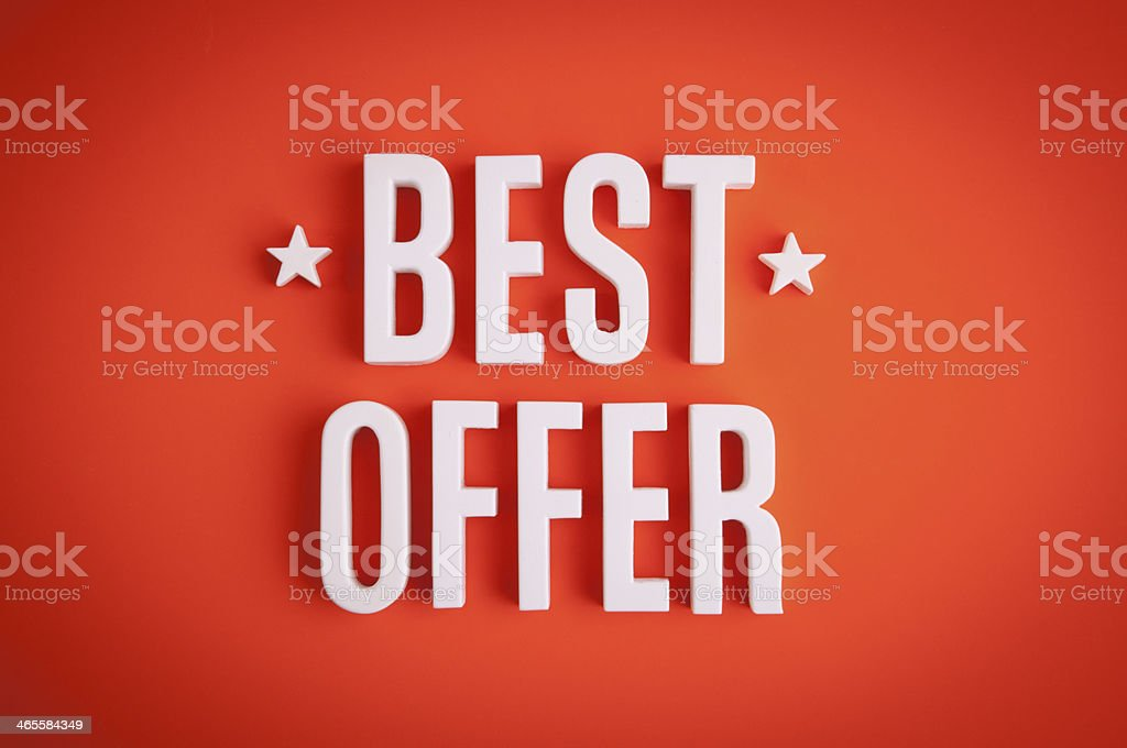 Best Offer sign lettering royalty-free stock photo