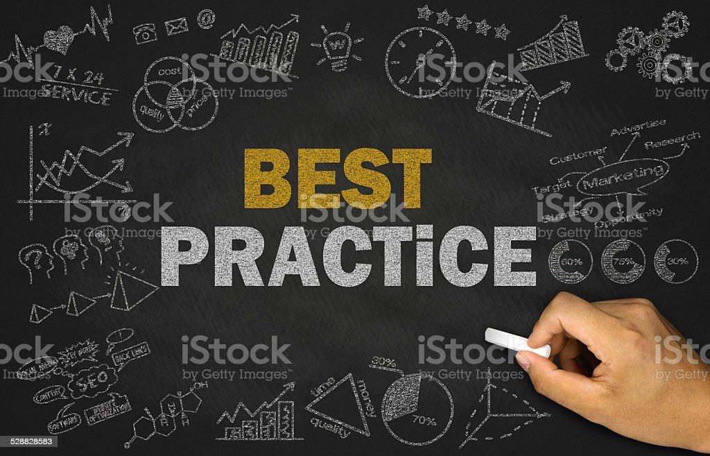 best practice concept on blackboard stock photo