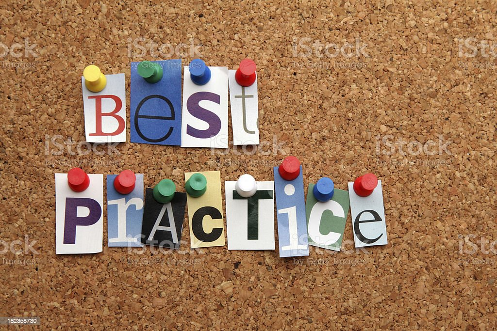 Best practice pinned on noticeboard stock photo
