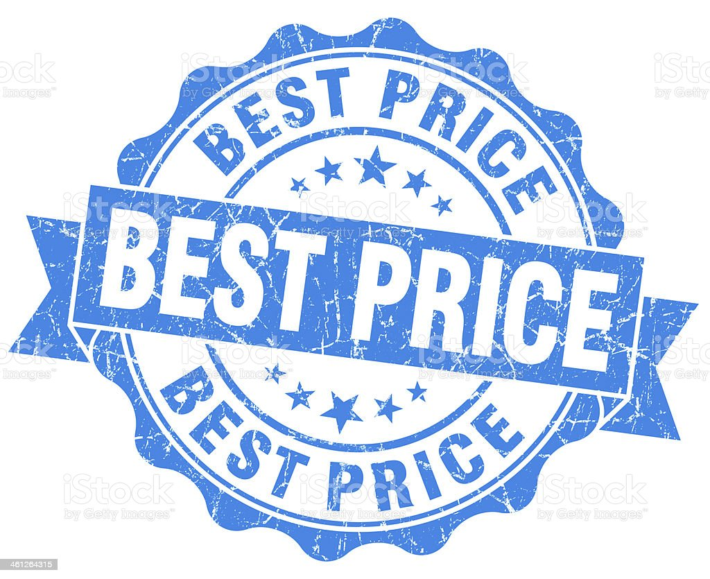 Best price grunge round blue seal stock photo