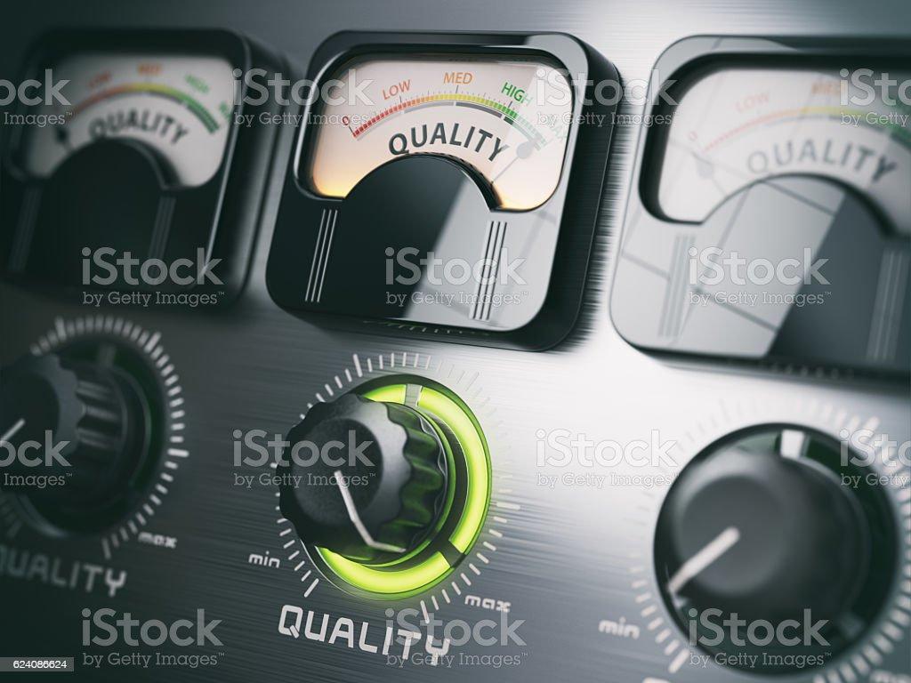 Best quality concept. Quality control switch knob on maximum pos stock photo
