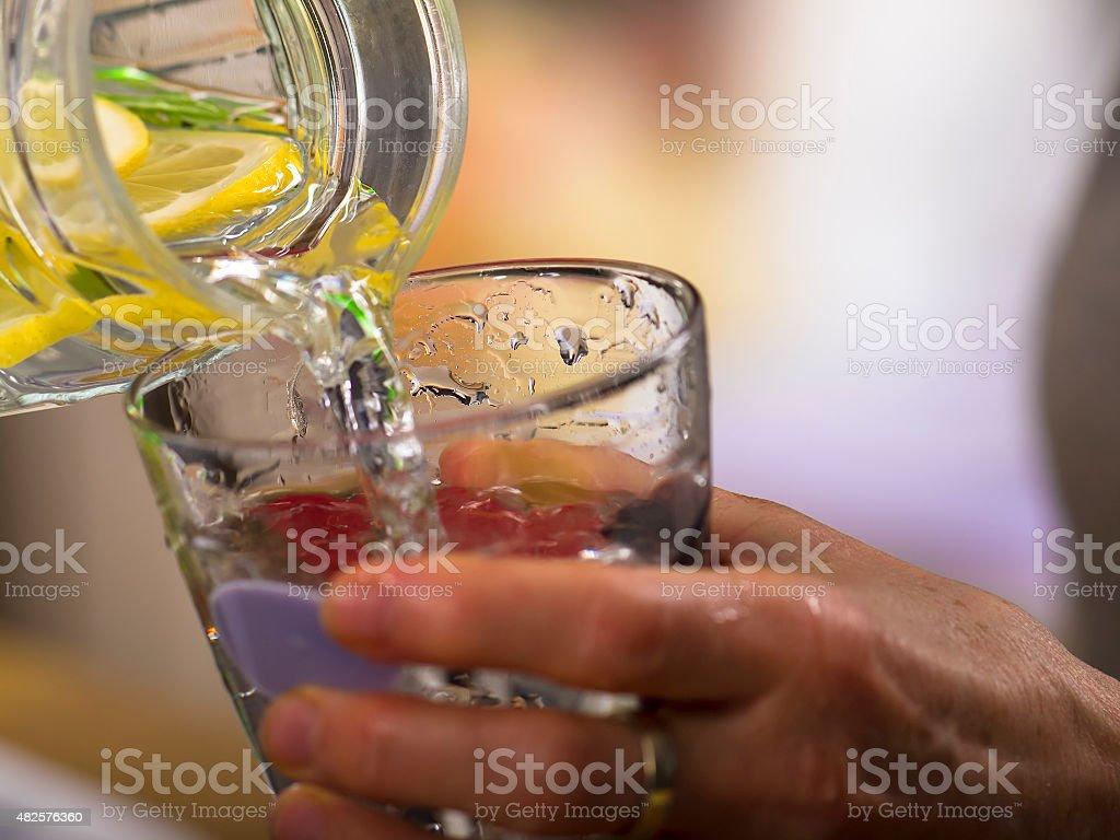 Best refreshment,  lemonade drinking stock photo