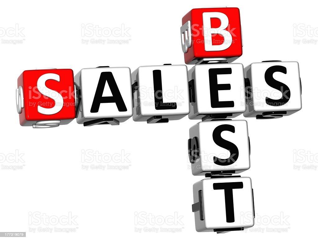 3D Best Sales Crossword royalty-free stock photo