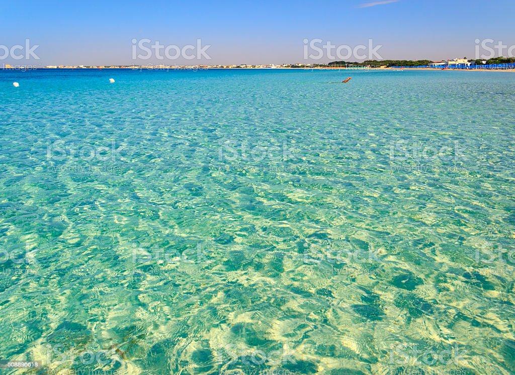 Best sandy beaches Apulia :swim in the morning(Salento coast,Lecce).-ITALY stock photo