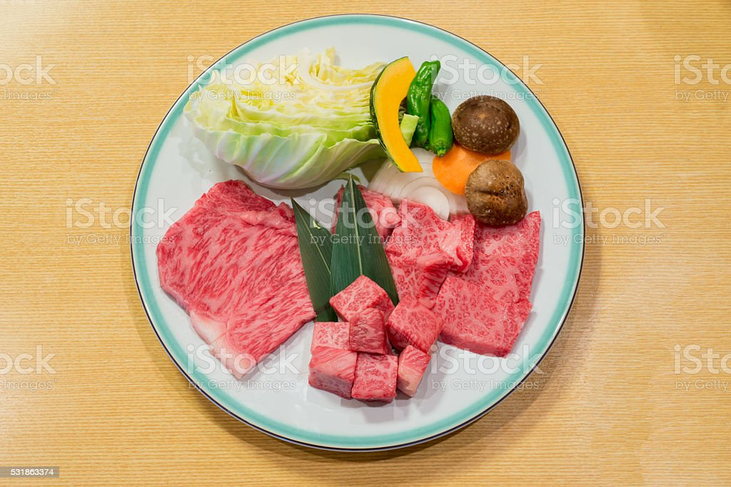 Best selected Hida premium beef plated, yakiniku japanese food stock photo