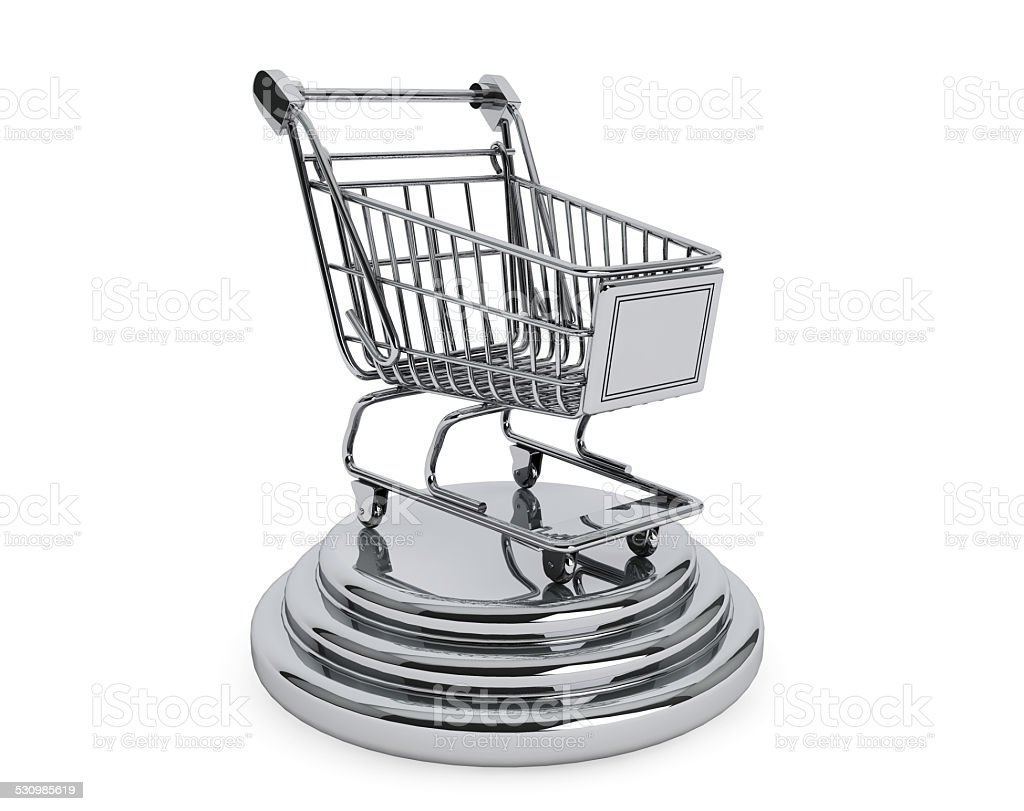Best Sellers concept. Silver Shopping Cart stock photo