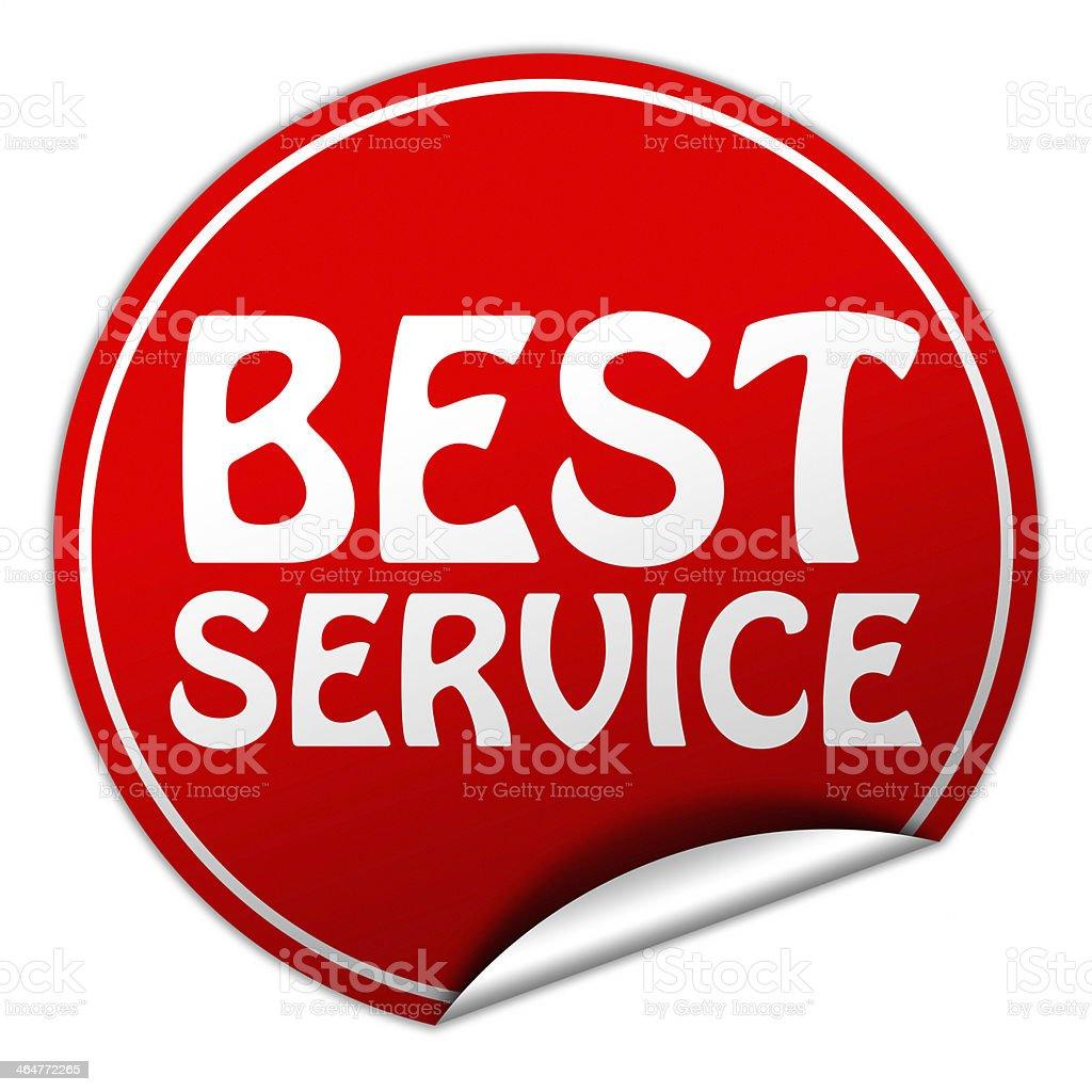 Best service round red sticker on white background stock photo