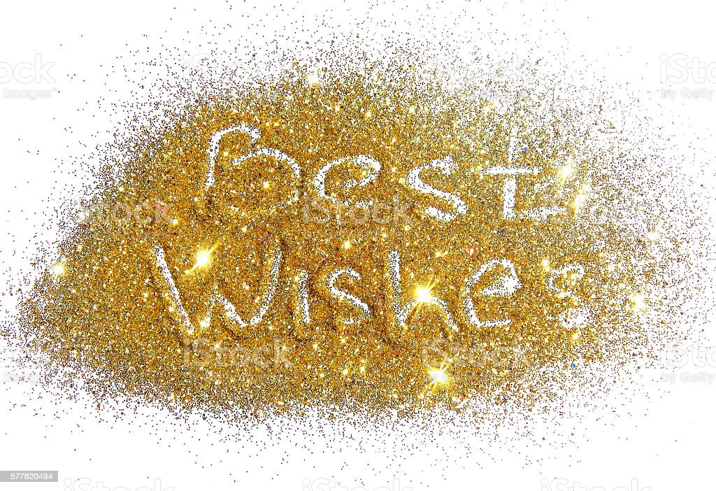 Best Wishes on golden glitter sparkle on white background stock photo
