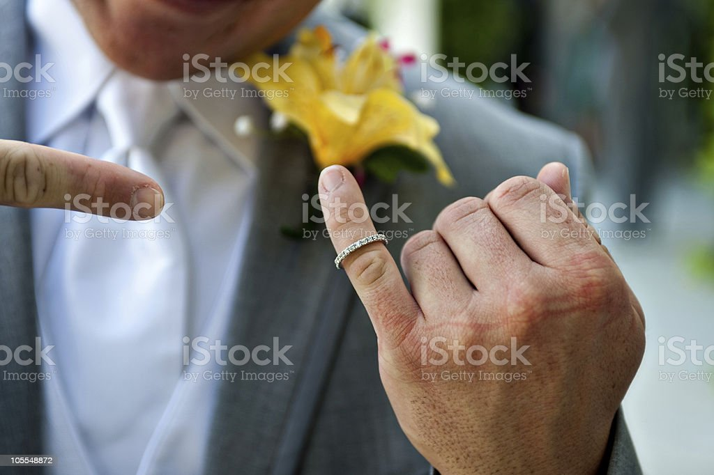 bestman pointing at ring stock photo