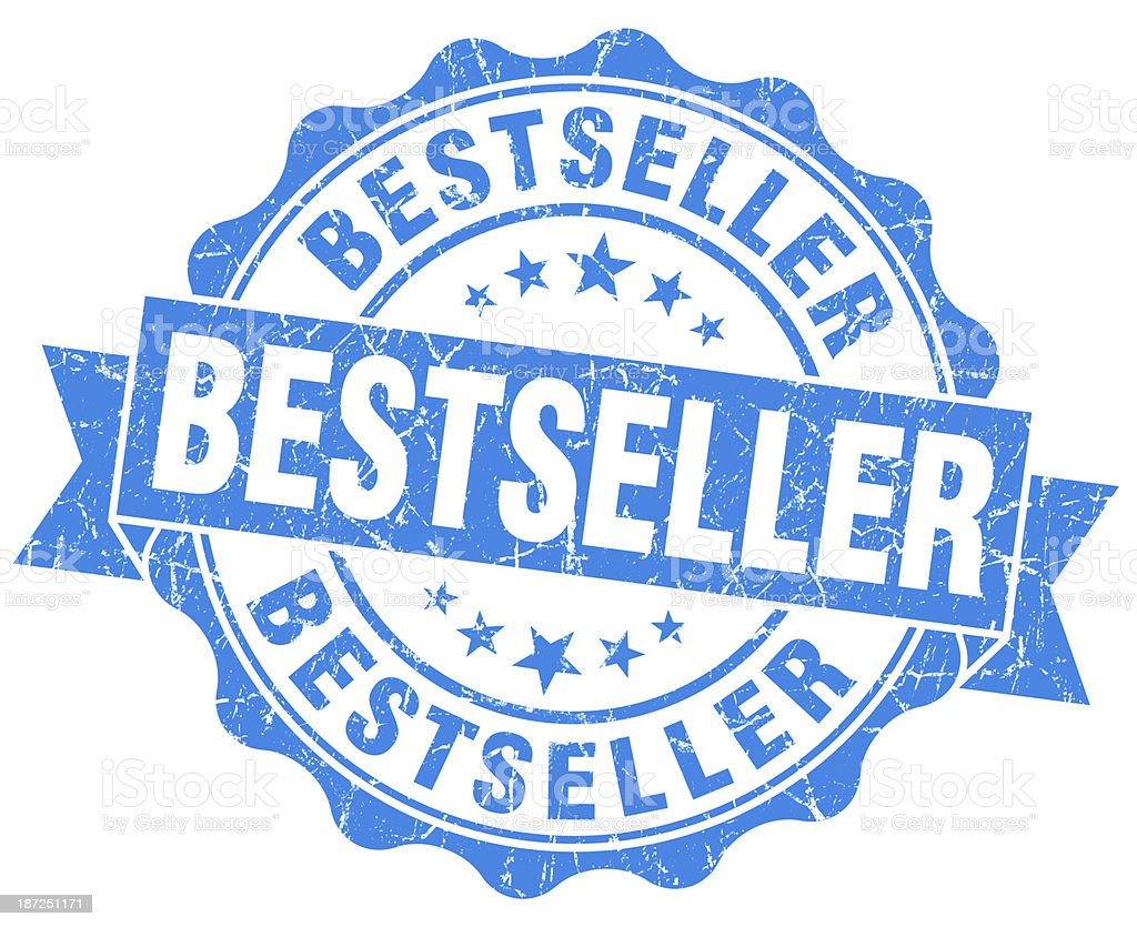 bestseller round blue grunge seal royalty-free stock photo